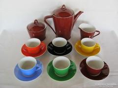 Retro színes Hollóházi porcelán kávéskészlet