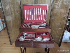 12 személyes angol fazonú ezüst evőeszköz készlet