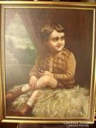 Kisfiú pipával olajfestmény (1927)