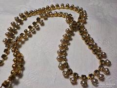 Antik aranyozott réz nyaklánc kövekkel és gyöngyökkel