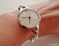 Ritka art deco Lugano svájci mechanikus óra ezüst karékkel