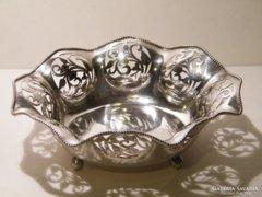 Különleges, szép, áttört szélű ezüst tál, tálka