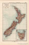 Új - Zéland és Tasmánia térkép 1904, eredeti nyomat