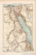 Egyiptom és Núbia térkép 1904, eredeti nyomat