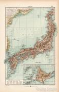 Japán térkép 1904, eredeti nyomat, térkép