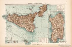 Szicilía és Szardínia térkép 1904, eredeti