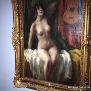 Színésznő AKT az öltőzőjében - Olajfestmény a múlt századból