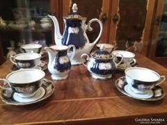 Royal dux kobalt 6 személyes kávéskészlet