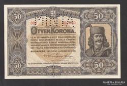 50 korona 1920. 000000-ás MINTA!! NAGYON RITKA!! UNC !!