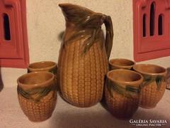 Kukorica mintás boros készlet 6 pohár kiöntővel (38)