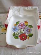 Kalocsai porcelán hamutál, hamutartó díszdobozban