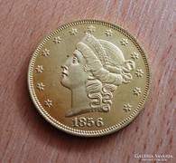 GYÖNYÖRŰ   ARANY 20 DOLLAR MÁSOLAT  U. P. 1856