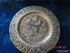 Madaras virágos bronzírozott nehéz török ón falitál-28 cm