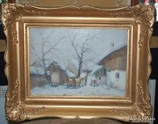 Németh György (1888- 1962) festménye: Falusi tanya - olajkép