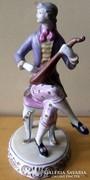 Hollóházi barokk figura lanttal