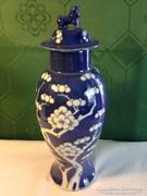 Japán barackvirág mintás fedeles váza