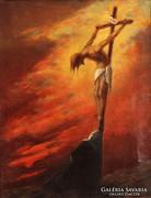 VÁLI LÁSZLÓ KRISZTUS JÉZUS MEGHAL A KERESZTEN OLAJ FESTMÉNY