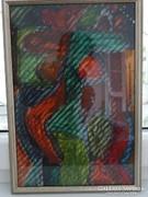 Cs. Németh Miklós festménye üveglapra
