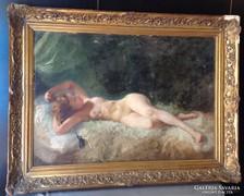 Gyönyörű, antik, akt festmény