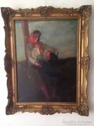 Szüle Péter nagyméretű antik olaj , vászon festmény