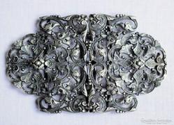 Hatalmas antik barokk stílusú ezüst övcsatt ötvösmunka