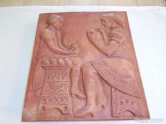 Szignált terrakotta falikép