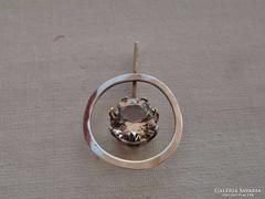 Csodás art deco ezüstmedál antik kristálykővel