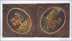 Antik fa táblára festett falikép párban , gyermek életkép