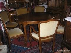 Chippendél barok nyithat étkezőasztal 6 székkel 100x129x76cm