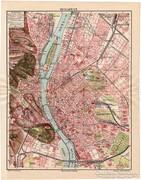 Budapest térkép 1912, eredeti nyomat, térkép, Révai