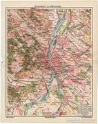 Budapest és környéke térkép 1912, eredeti nyomat, térkép