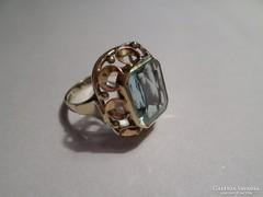 Árt deco akvamarin arany gyűrű