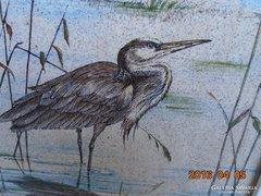 Kerámia kép keretezve-Kócsag-szignós színes rajz-23x23cm-1kg