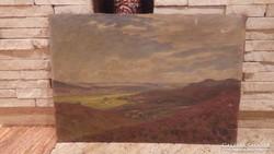 Jelzett régi tájkép festmény olaj-vászon
