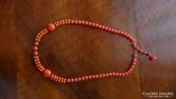 Különleges régi korall színű nyakék gyöngysor