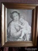 33 x 28 cm-es keretben szép nyomat / Mária és a kisded Jézus