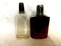 2 db. antik lapos üveg, flaska