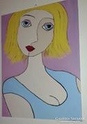 Szőkeség, akrillal festett kép