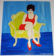 A sárga kanapé, vászon - farost, akrillal festett kép