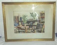 Diósy Antal akvarell szobabelső 1948