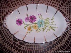 Jelzett porcelán kínáló 26 x 15.5 cm, kézzel festett