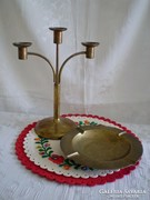 Réz gyertyatartó három ágú és hamutál