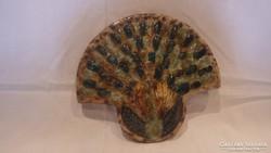 Zsűrizett iparművész kerámia páva falikép
