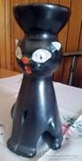 Art deco iparművészeti kerámia macska , mécsestartó, nagy !