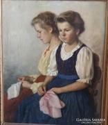 Rezes Molnár Lajos: Lányok  kendővel