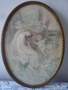 Selyemre festett szecessziós kép