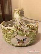 Herendi nagyméretű áttört rokokó gyönyörű porcelán kosár