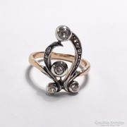 Szecessziós Leveles Bimbós Gyűrű Gyémántokkal c 0.30 ct