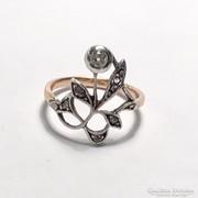 Szecessziós Leveles Bimbós Gyűrű Gyémántokkal c 0.20 ct
