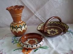 Pávaszem mintás kerámia kosár, váza és hamutál